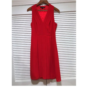 Red V Neck Pleat Detail Dress